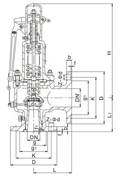 A47H弹簧微启式安全阀,蒸汽安全阀